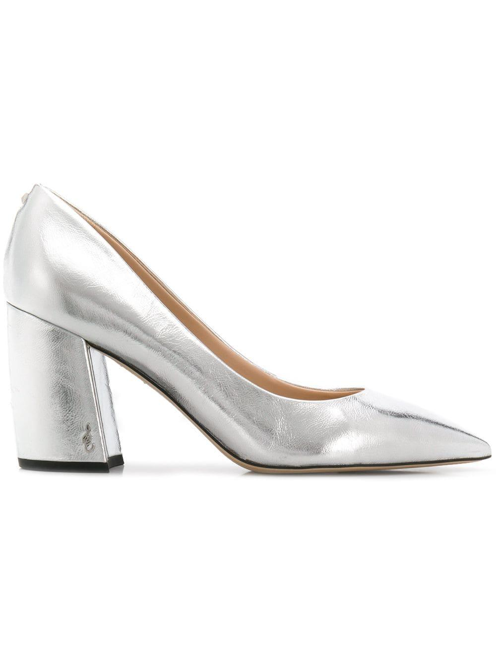 f75241fed41 Sam Edelman Block Heel Pumps - Silver