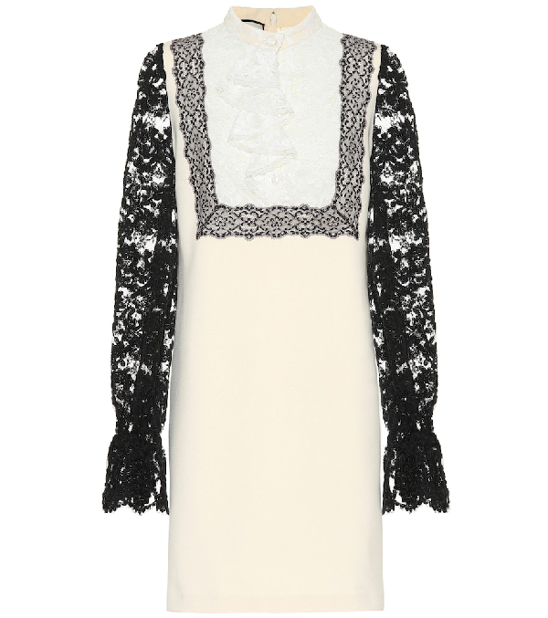 96b6066a0 Gucci Two-Tone Lace-Sleeve Jersey Dress In Multicoloured | ModeSens
