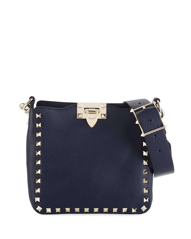 086fc5746b Valentino Rockstud Mini Vitello Stampa Leather Hobo Bag, Navy | ModeSens