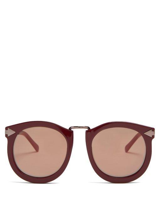 ea00450d2db1 Karen Walker Super Lunar Round-Eye Acetate Sunglasses In Burgundy ...