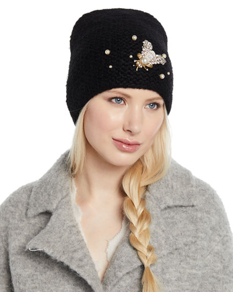 9fa52edee47 Jennifer Behr Embellished Bee Knit Beanie Hat In Black