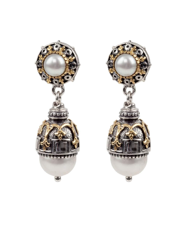 Konstantino Thalia Double-pearl Drop Earrings In Yellow/gray