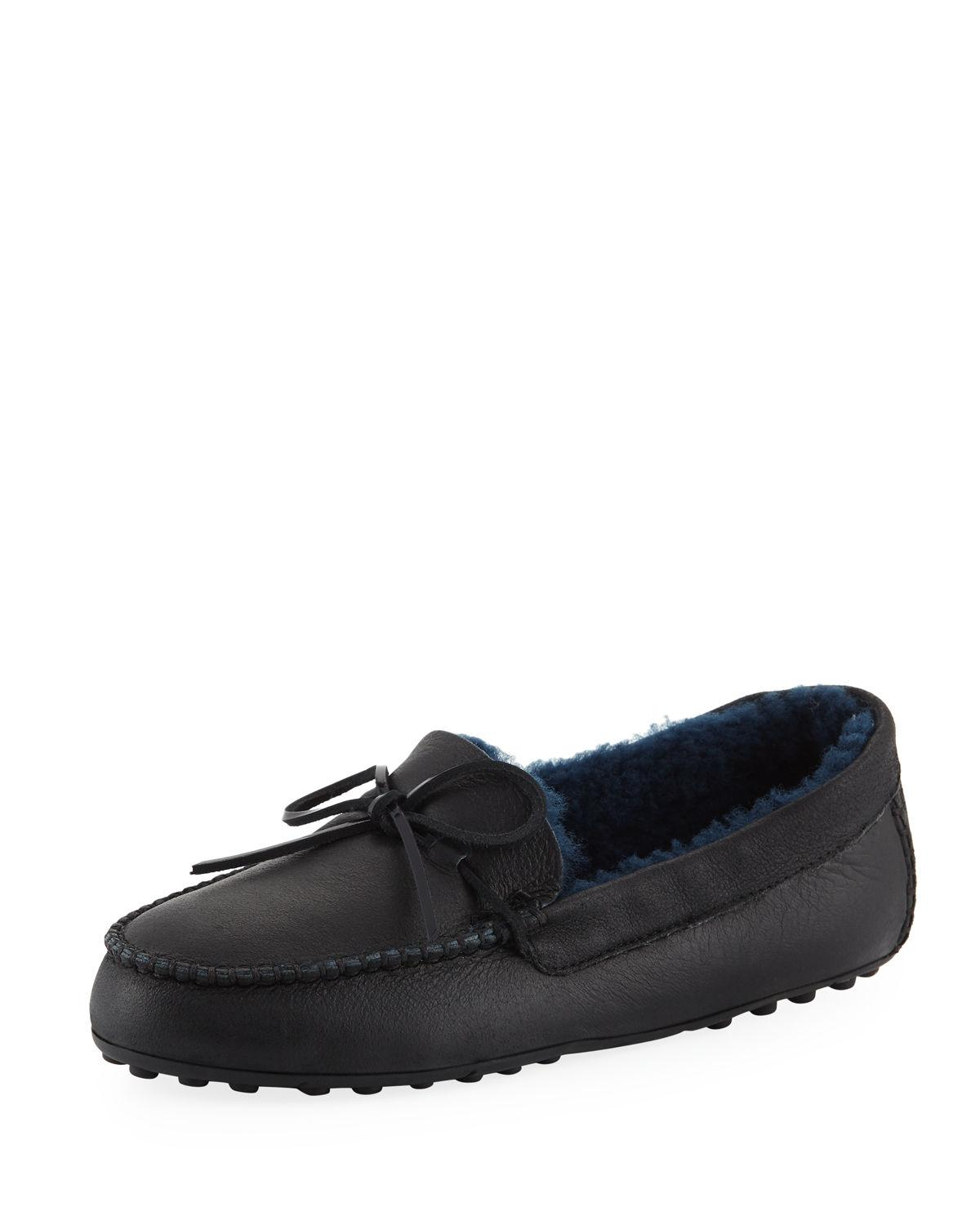 aa16be0569e Ugg Deluxe Moc Loafer Slippers In Black Leather