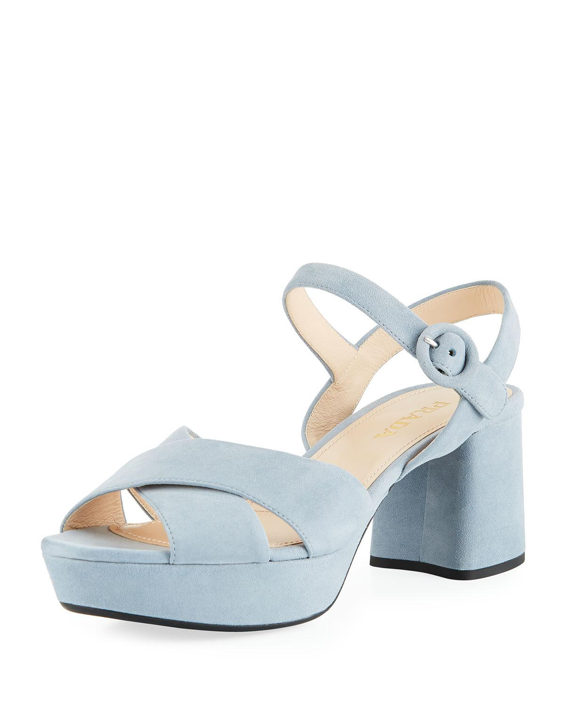 ff1ef1ec90fd Prada Suede Crisscross Ankle-Wrap 65Mm Sandals In Astro