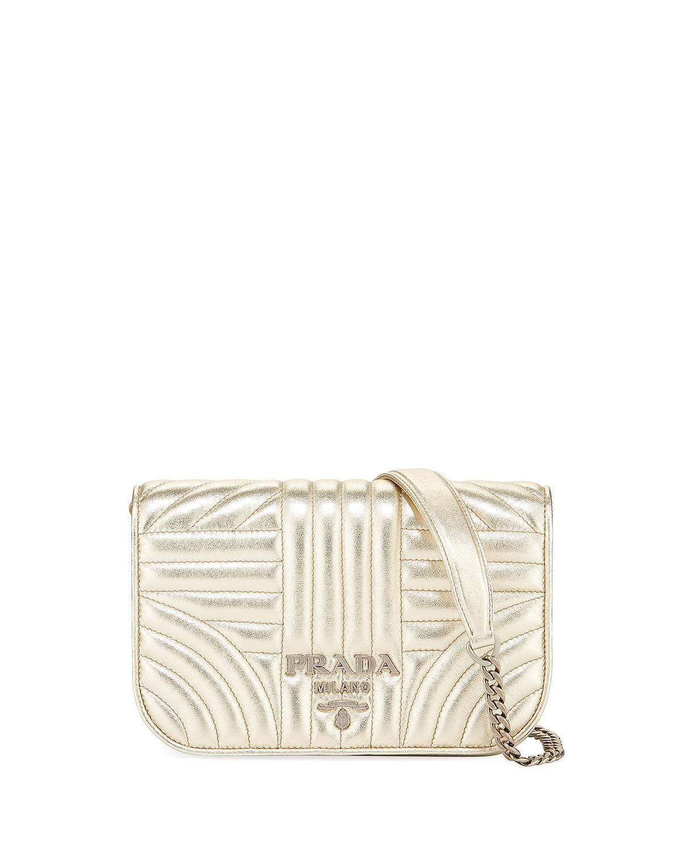 1f2950445524 Prada Small Diagramme Crossbody Bag In Gold   ModeSens