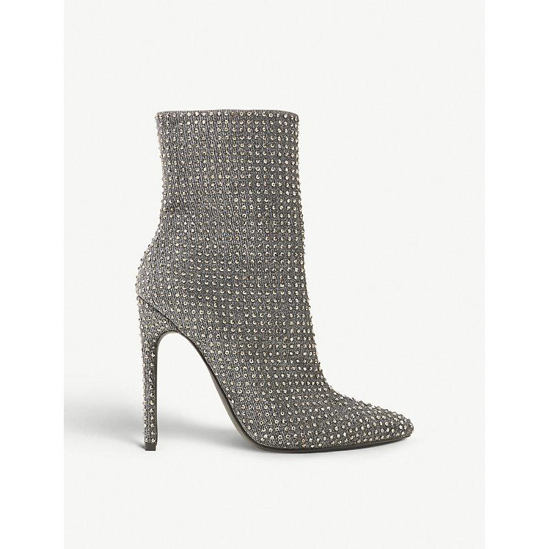 toma una foto Pastor papa  Steve Madden Wifey Rhinestone-embellished Ankle Boots In Pewter-metallic  Fabric | ModeSens