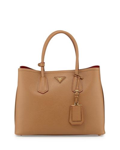 Prada Saffiano Cuir Double Medium Tote Bag, Camel/Brown (Cannella/Cocco)