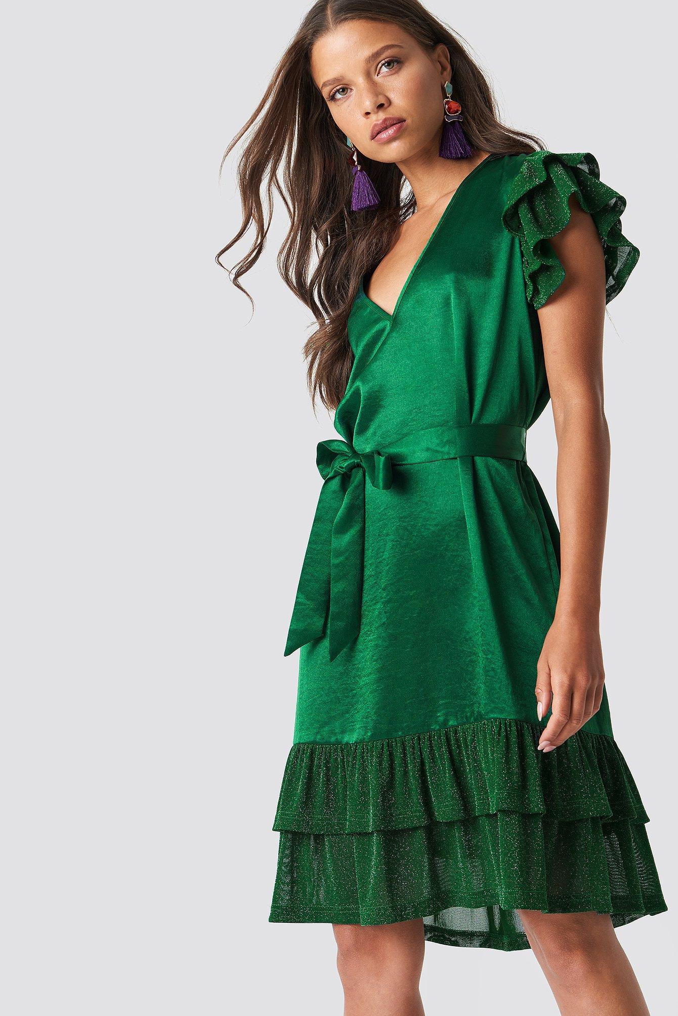 6c386c1b Na-Kd Glitter Frills V-Neck Mini Dress - Green | ModeSens