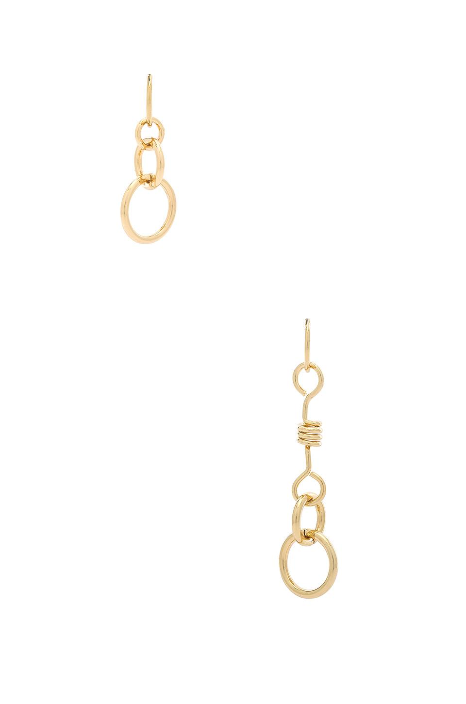 Rebecca Minkoff Mismatched Twisted Links Earrings In Metallic Gold