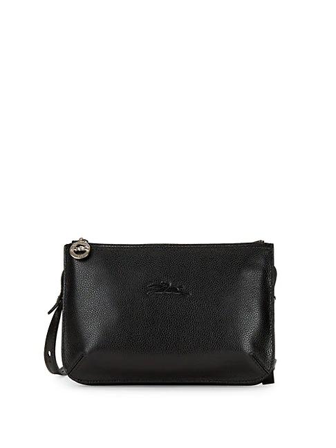 Longchamp Embossed Leather Crossbody Bag In Black