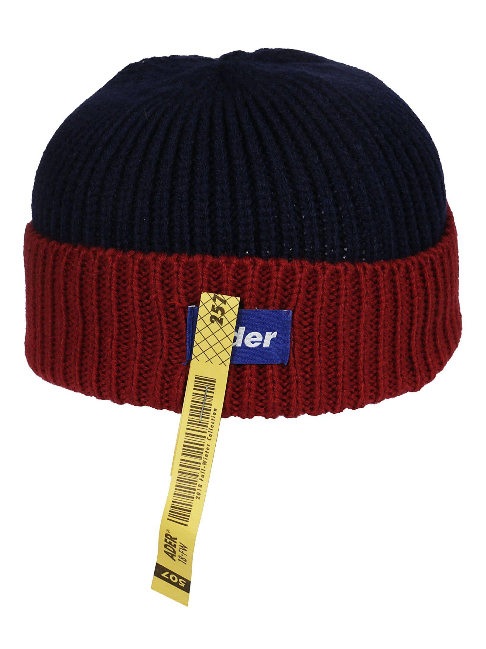 57edcec88f1 Ader Error Ribbed Knit Beanie In Navy