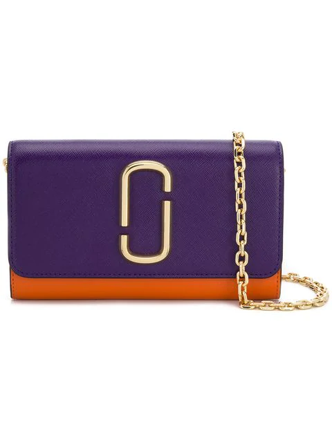 Marc Jacobs Saffiano Mini Chain Wallet In Purple