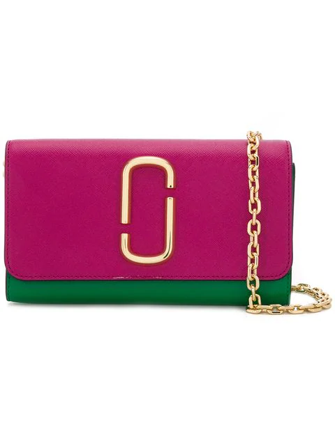 Marc Jacobs Saffiano Mini Chain Wallet In Green