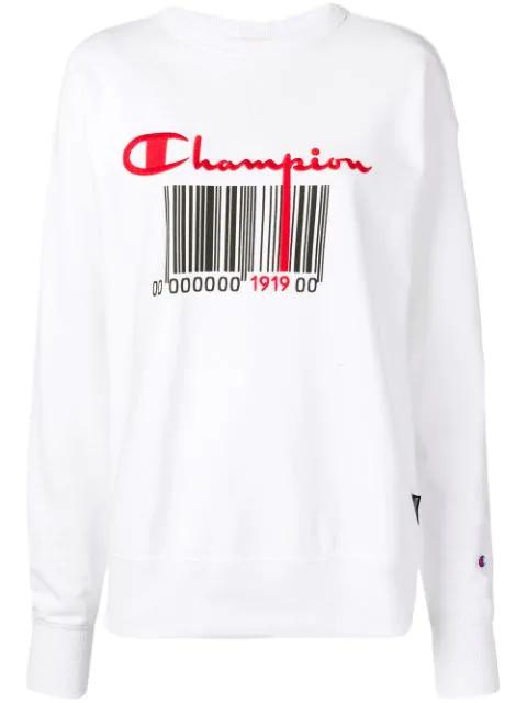 Champion Logo Print Sweatshirt In White