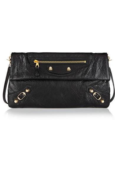 Balenciaga Giant 12 Golden Envelope Clutch Bag With Strap, Black, Gray
