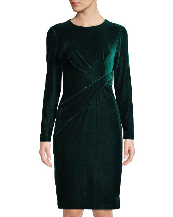 47abc0feff4 Donna Morgan Long-Sleeve Twisted Velvet Sheath Dress In Green