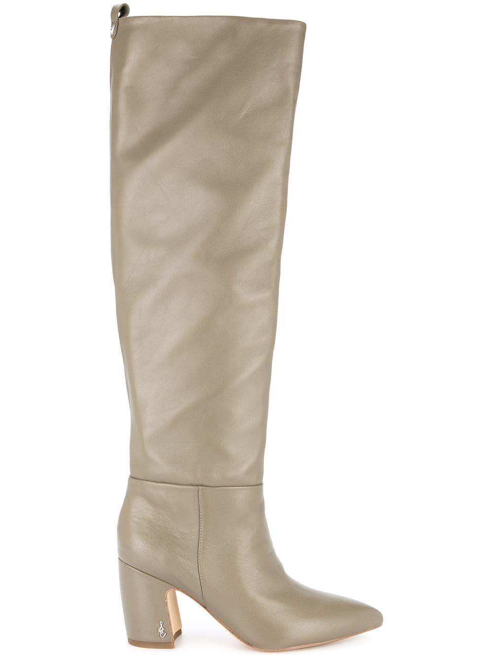 b681d004522 Grey calf leather and leather knee length boots from Sam Edelman featuring  a pointed toe
