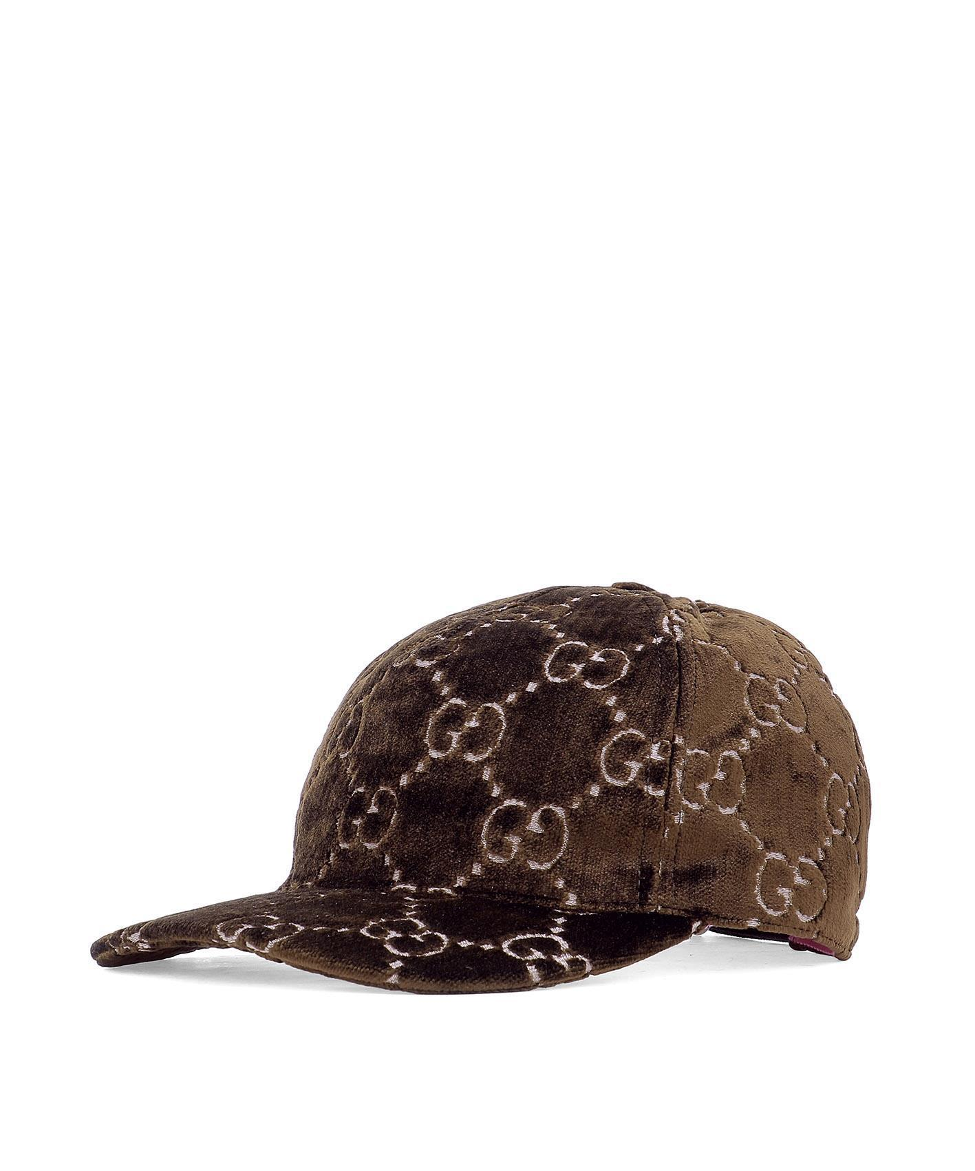 3b3a81a87 Gucci Gg Supreme Velvet Snapback Hat In Brown