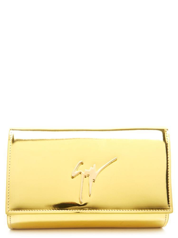 63e99b12731a1 Giuseppe Zanotti Design Lory Metallic Clutch Bag In Gold   ModeSens