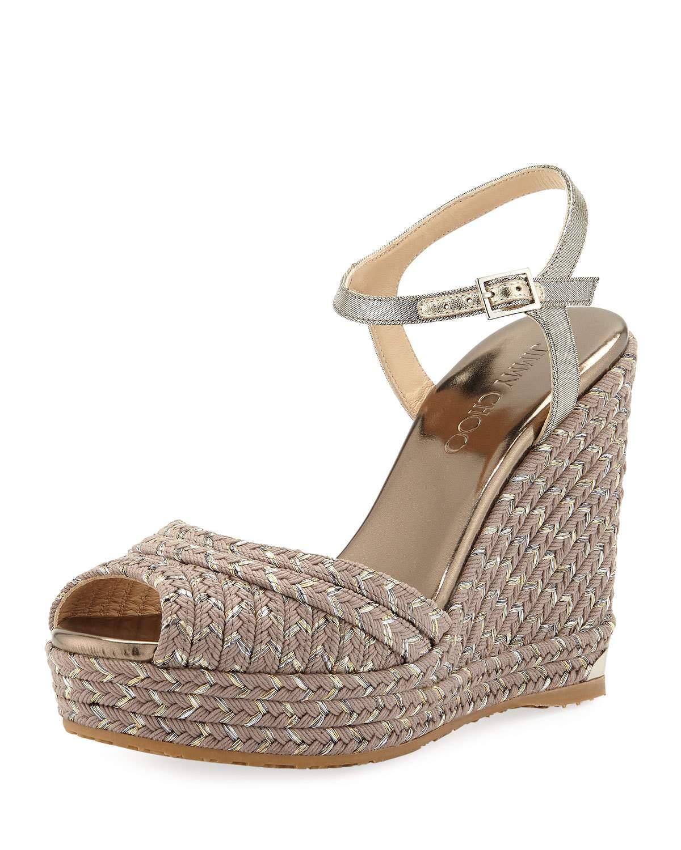 8ba2637c644c Jimmy Choo Perla Metallic Fabric Platform Espadrille Sandals In Brown