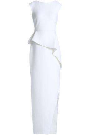 Halston Heritage Woman Metallic Stretch-Knit Peplum Gown Ivory