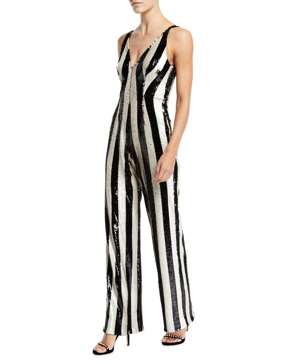 ba4215574ff Dress The Population Bobbie Flip Sequin Stripe Jumpsuit In Black  Bone