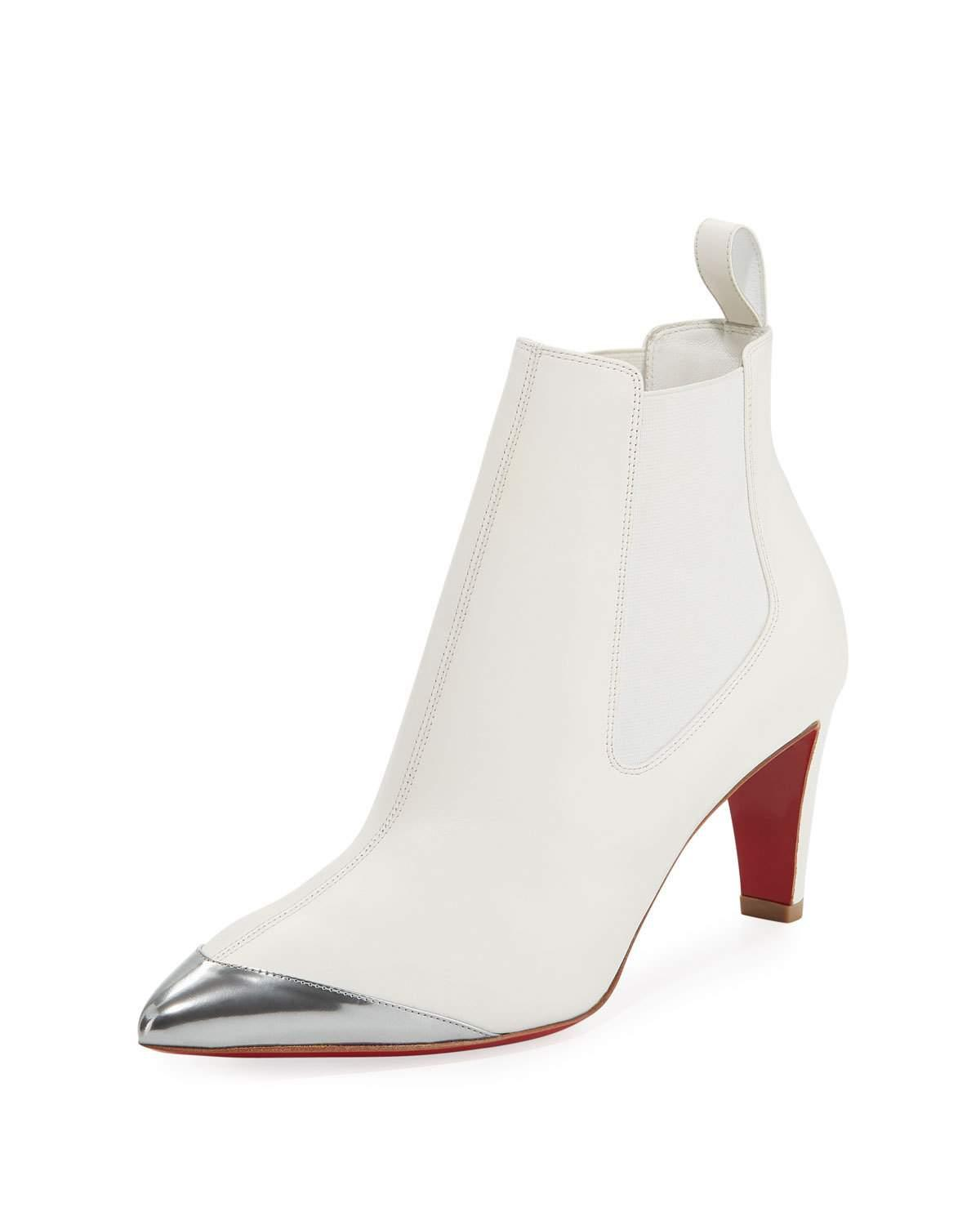 buy popular 3a687 df2e8 Superchen Leather Red Sole Booties in White/Silver