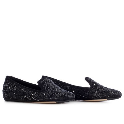 Le Silla Slipper In Burma, Black Laminate Suede And Crystals H.5 Mm