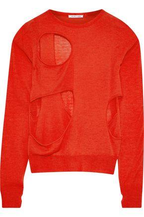 Helmut Lang Woman Cutout Wool And Silk-Blend Sweater Red