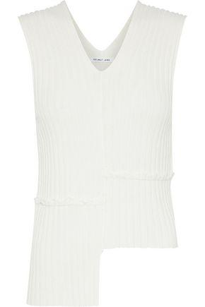 Helmut Lang Woman Asymmetric Ribbed-knit Top Ecru