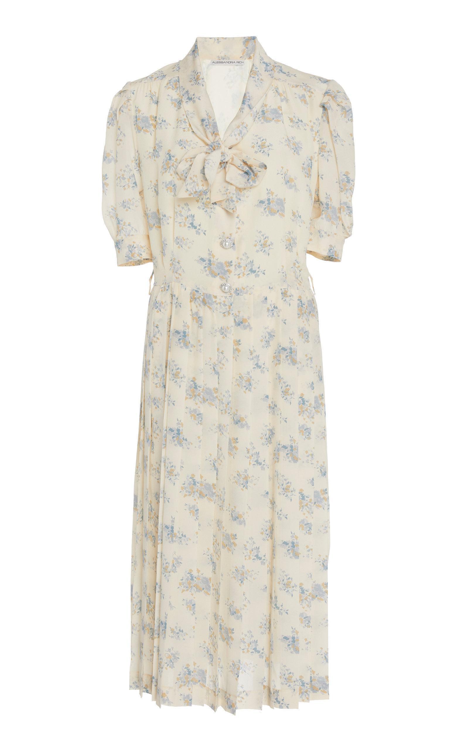 Alessandra Rich Pleated Floral-Print Silk Midi Dress