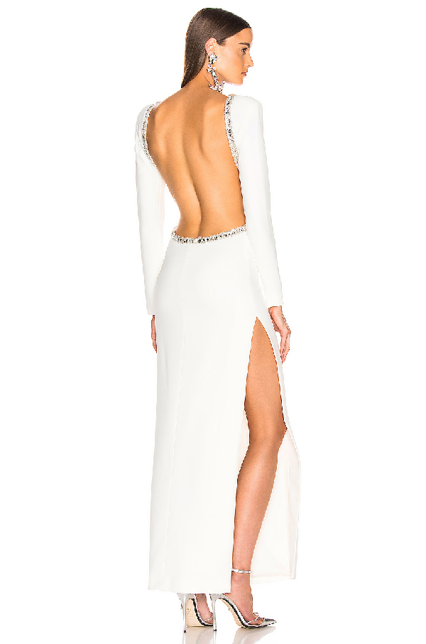Alessandra Rich Crystal Embellishment Open Back Dress In White