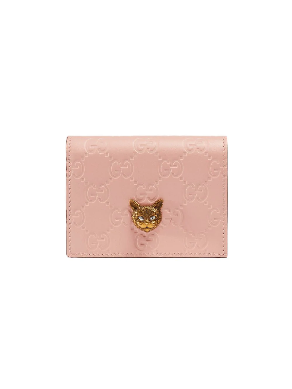 c9dc04101d269e Gucci Signature Card Case With Cat - Pink In 5877 Pink | ModeSens
