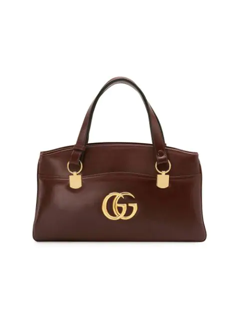 Gucci Arli Large Leather 2-Compartment Top Handle Tote Bag In Red