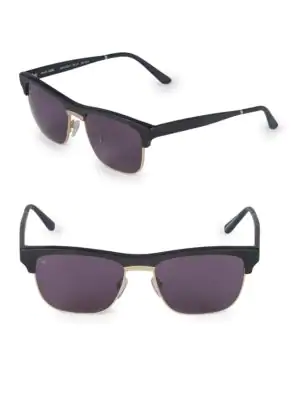 Smoke X Mirrors 53Mm Uncle Albert Rectangular Sunglasses In Matte Black