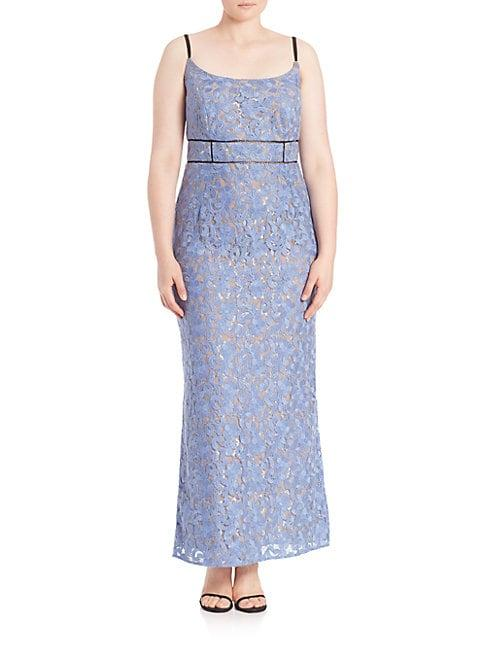 Abs By Allen Schwartz Plus Floral Lace Gown In Periwinkle