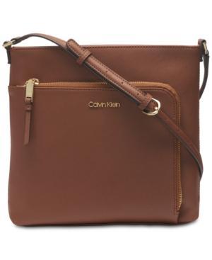 Calvin Klein Hudson Saffiano Leather Crossbody In Luggage/Gold