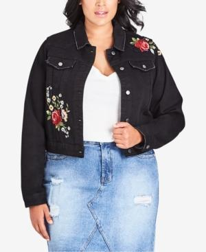 d0d93aa5b22 City Chic Trendy Plus Size Embroidered Denim Jacket In Black | ModeSens