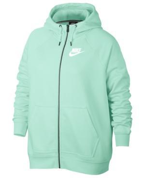 Nike Plus Size Sportswear Zip Hoodie In Igloo/ White