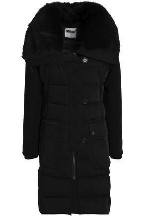 Ashley B. Woman Shearling-Trimmed Twill Down Jacket Black