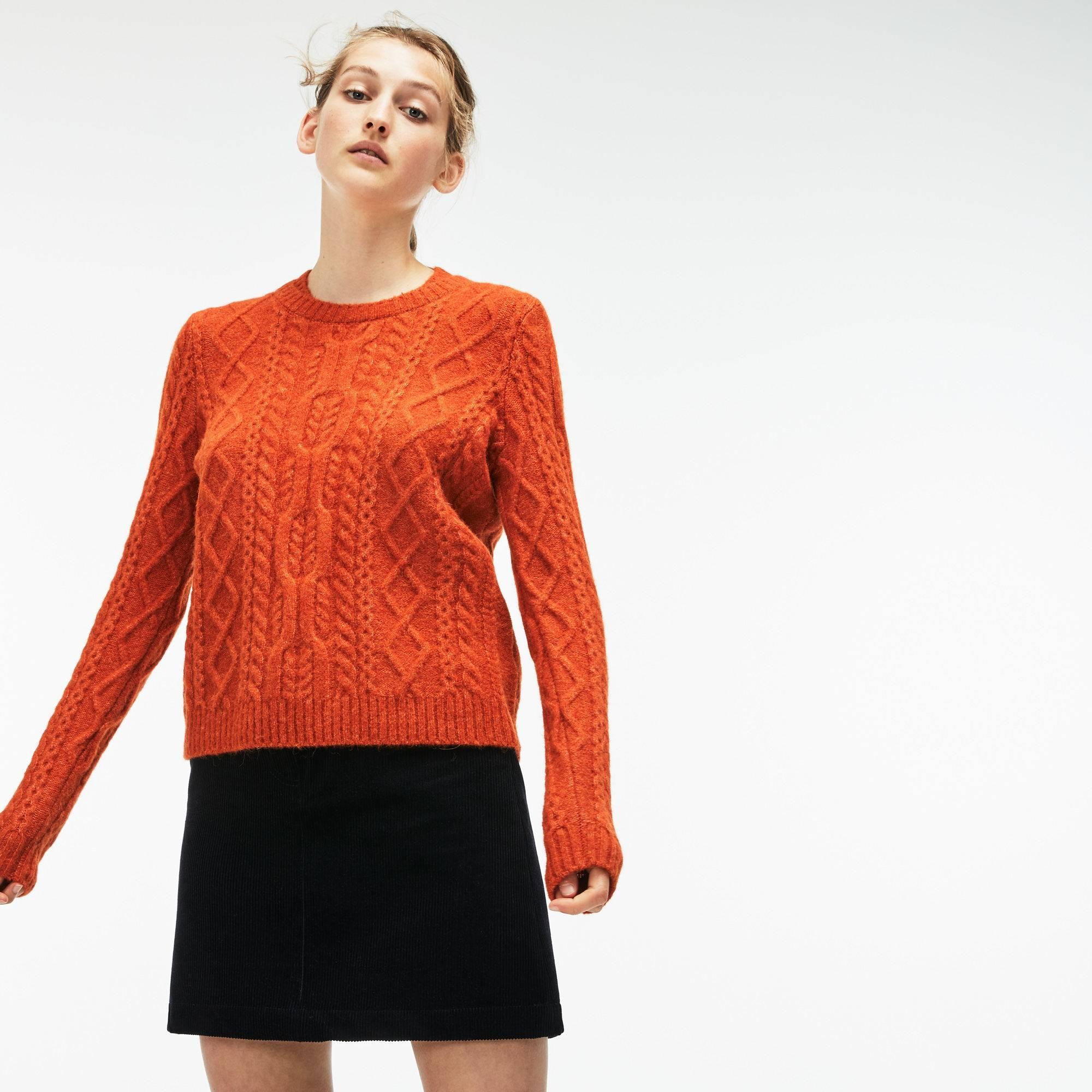0252b8ac Women'S Double Neck Alpaga And Wool Cable Knit Sweater in Orange