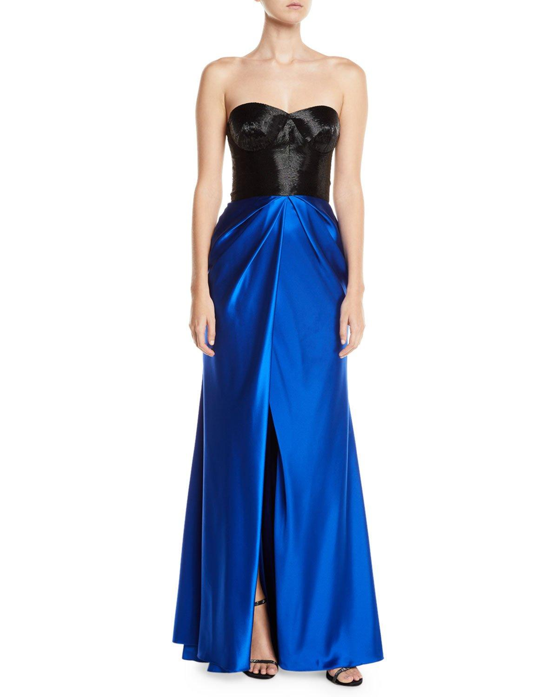 Naeem Khan Colorblocked Taffeta-Skirt Slit-Leg Gown In Black