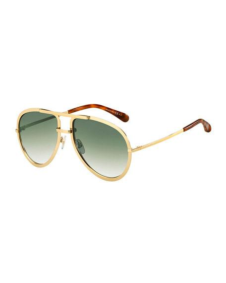 caae6797632 Givenchy Men S Full-Rimmed Metal Aviator Sunglasses In Gold