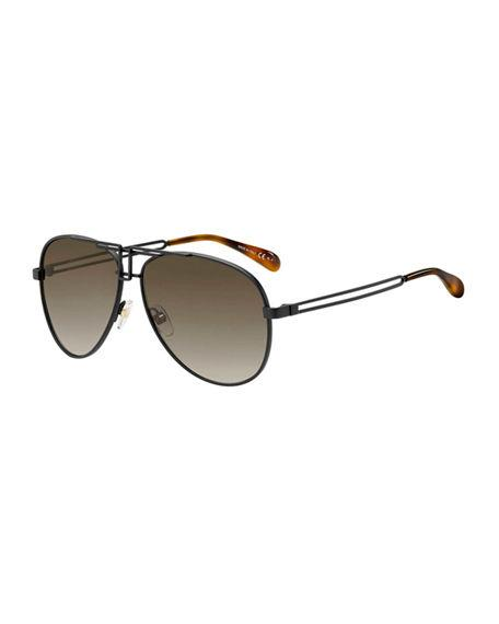 66b705ff8d A sculptural brow bar gives the timeless aviator a fresh new look. Style  Name  Givenchy 61Mm Aviator Sunglasses. Style Number  5712484 1.