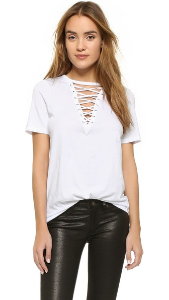 Glamorous Lace Up Tee In White