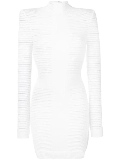 Balmain Mockneck Medical Stripe Crepe Dress In White