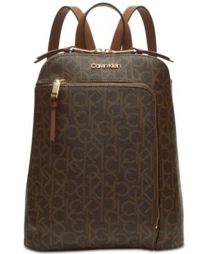 Calvin Klein Hudson Signature Backpack In Brown Khaki/Luggage/Gold