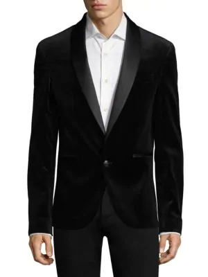 Pierre Balmain Vented Velvet Blazer In Black
