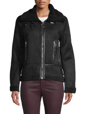Philosophy Faux Fur Moto Jacket In Black