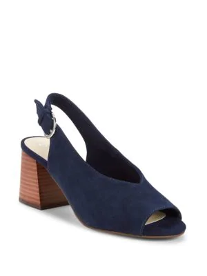 Seychelles Scriptive Suede Block Heel Sandals In Navy